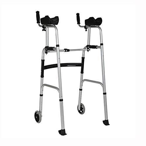 ZXL Aluminium Faltbare Gehhilfe - Walker - Rollator mit Armstütze und Rad für ältere Menschen (Farbe: A)
