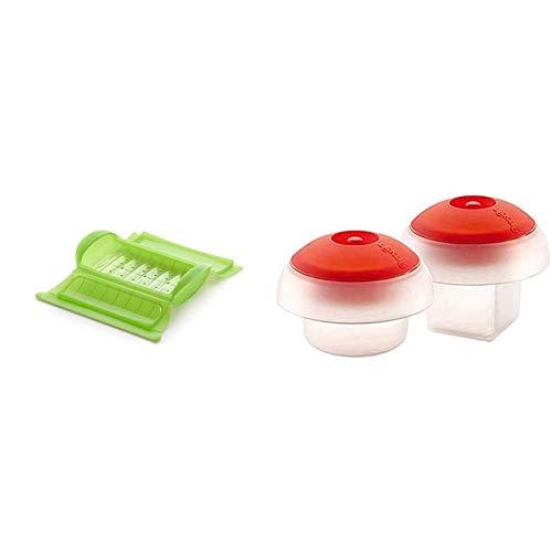 Oferta de Lékué - Estuche de vapor con bandeja, 1-2 personas, Capacidad: 650 ml, Color Verde + Kit 2 OVOS (Cub+CIL), Silicona, Blanco/Transparente, centimeters