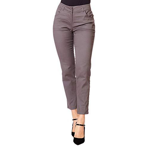 INCÓGNITA Pantalón Vestir Formal Para Mujer, Con Bolsas Gabardina Stretch Gris 550310 - Gris - GRA
