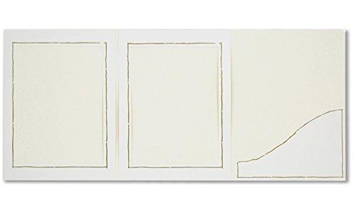 Webafi 5 Stück weiße Leporello mit Goldrand Verkaufsmappen Abgabemappen Foto - Portraitmappe Fotoalbum Fotomappe