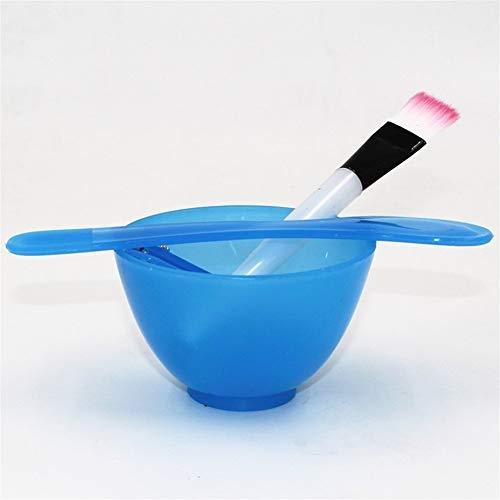1 Pcs 4 en 1 DIY Masque Facial Bol De Mélange Brosse Cuillère Pinceau Bâton Set Outil Facial Boue Masque Crémeux Mélange Brosse Bol Ensemble (Color : Blue Bowl)