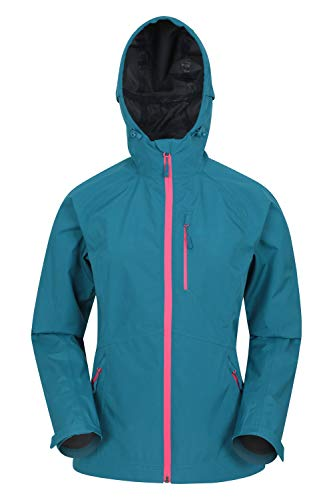 Mountain Warehouse Veste imperméable légère 2.5 Couche pour Femme - Respirante - Coutures étanches - Ajustable - Idéale pour Les Voyages, Le Camping, la randonnée Sarcelle 34