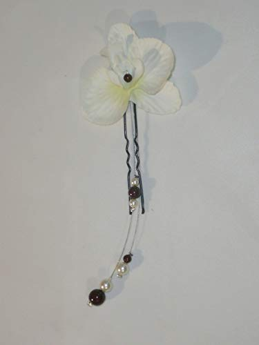 1 orquídea 2 espiga de moño marrón y marfil, accesorio para el pelo de boda