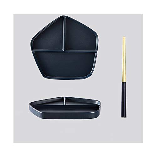 Platos Placa de partición de cerámica Vajilla especial para el hogar Fitness y pérdida de peso Placa de partición Cuantitativa Cena de reducción de grasa Vajilla ( Color : F , Size : Large )