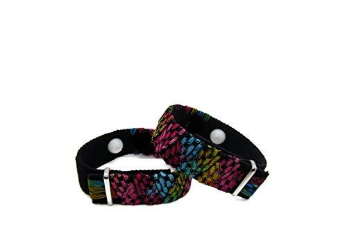 Acupressure Motion Sickness Wristband – Adjustable Hook/Loop Closure Nausea Bracelet for Morning Sickness, Vertigo, and Anxiety Relief – Natural Healing (Pair) (Pink Carnival, Large 9')