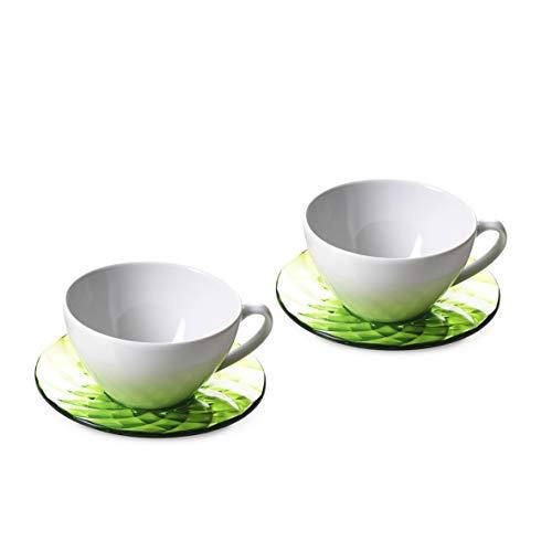 Omada Design 2 grandes tasses de 35 cl chacune et deux assiettes colorées, respectivement en porcelaine et en acrylique transparent, parfaites pour le petit déjeuner, ligne Diamond,Vert.