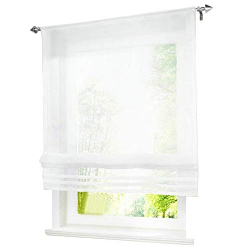 BAILEY JO 1er-Pack Raffrollo mit Tunnelzug Gardinen Transparent Voile Vorhang (BxH 60x155cm, weiß)