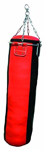 Lisaro Profi - Sacco da boxe, in pelle, imbottito, catenelle incluse, colore: rosso/nero, dimensioni: 120 x 35 cm
