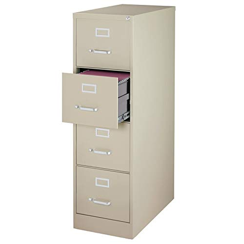 Pemberly Row 25' Deep 4 Drawer Letter File Cabinet in Putty, Fully Assembled