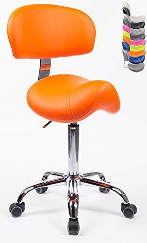 1stuff® Sattelhocker Sattelstuhl MULY BIGBACK - ergonomisches Sitzen bis ca. 74cm - Rollhocker Arzthocker Arbeitshocker Praxishocker Drehhocker (orange mit Lehne)