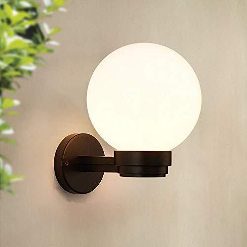 E27 Vintage Außen-Wandleuchte Wasserdicht IP44 Schwarz Gartenlampe Weiss Acryl Kugel Retro Wandlampe Balkon Lampe Wandbeleuchtung Aussenlampe Flur Hof Eingang Fassaden Φ20cm