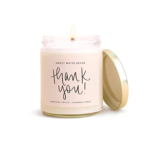 Sweet Water Decor Thank You Candle | Tropical Fruit and Sugared Orange, Summer Scented Soy Wax Candle for Home | 9oz Clear Glass Jar, 40 Hour Burn Time, Made in The USA