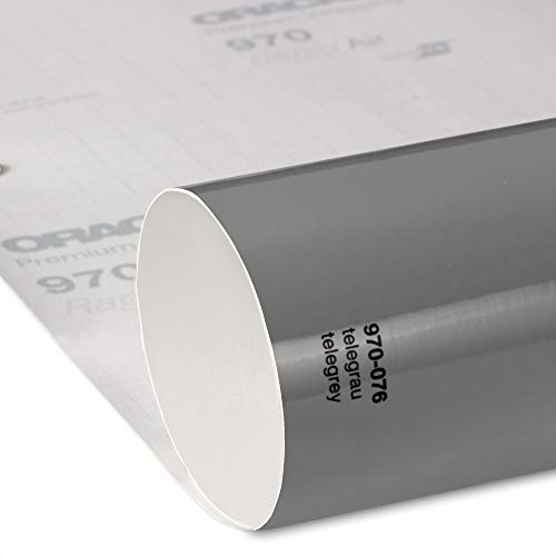 19,60€/m² Oracal 970RA 076 TeleGrau Grau Glanz gegossene Profi Autofolie 152cm breit BLASENFREI mit Luftkanäle