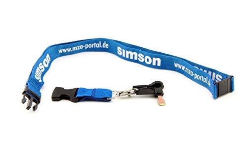 Schlüsselband mit Zündschlüssel - Blau/Weiß - für Simson S51 Schwalbe Star DUO + Bisomo Sticker
