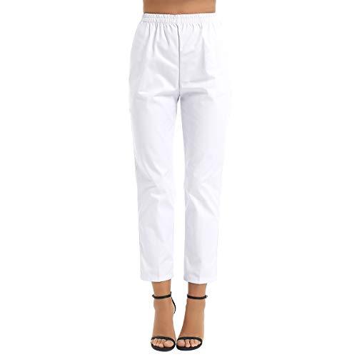 TiaoBug Mujer Uniforme Pantalón Sanitario de Trabajo Cintura Elástica Blanco Verano Disfraces Laboral Médico Enfermera Limpieza Veterinaria Sanidad Profesional con Bolsillo Blanco A S