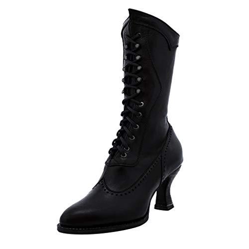 Stiefel Damen Blockabsatz Halbschaft Schnürstiefel Einfarbiges Schnürsenkel Spitzschuhe PU Vintage Schuhe Damenschuhe (35.5 EU, Schwarz)