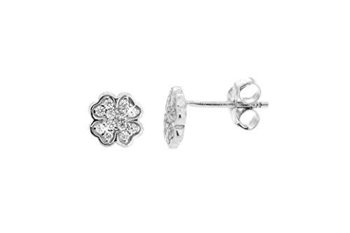 Kettenworld orecchini a forma di quadrifoglio con zirconi bianchi, diametro ca. 7 mm, argento sterling 925 rodiato
