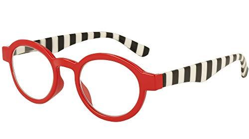 Lindauer L412.2 - Ayuda de lectura para hombre y mujer, color rojo brillante frontal con rayas blancas y negras