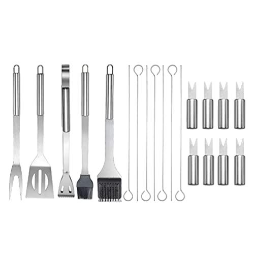 HEMOTON Juego de utensilios de barbacoa de acero inoxidable con brochetas de tenedor, espátula de aceite para barbacoa, clip para casa, jardín, camping, cocina
