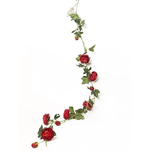 YSMLL 3 pezzi 18 cm Fiori artificiali Realistici fiori finti Vite di rose Rattan Canna Ghirlanda Appeso a parete Pianta Matrimonio Decorazione del giardino di casa (Color : Red)