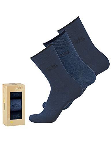 camel active Geschenkbox Herren Socken 3er Pack uni basic dunkel-blau navy, Size:43-46