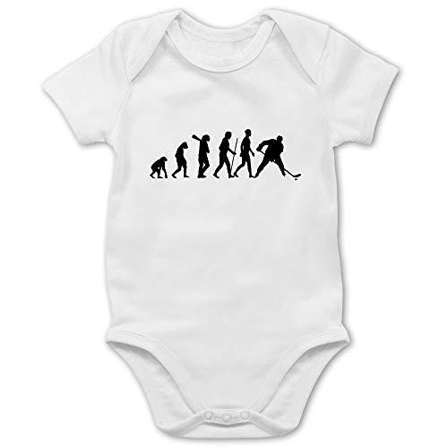 Shirtracer Evolution Baby - Eishockey Evolution - 1/3 Monate - Weiß - Baby Eishockey - BZ10 - Baby Body Kurzarm für Jungen und Mädchen