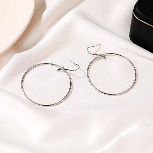Janly Clearance Sale Women Earrings , Occident Geometric Earrings Big Circle Alloy Ladies Earrings , Valentine's Day Birthday Jewelry Gifts for Ladies Girls (Silver)