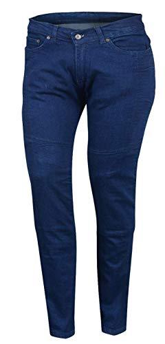 Bikers Gear Australia Limited Damen Stretch gefüttert mit Kevlar Motorrad Schutz Jeans mit abnehmbare Armour, blau, Größe 8