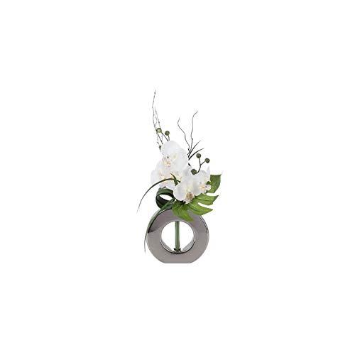 AC-Déco Composizione Floreale in Vaso Argento–Orchidea–Modello Casuale