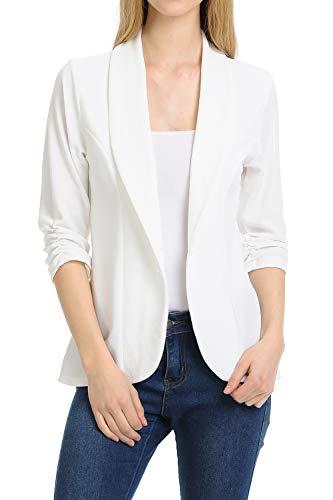 MINEFREE Women's 3/4 Ruched Sleeve Lightweight Work Office Blazer Jacket OFFWHITE L