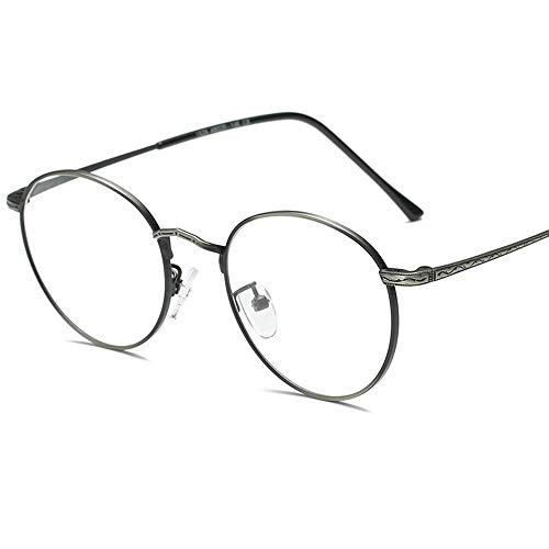 Gafas de Sol El Marco de Las Gafas se Puede equipar con un Espejo retrovisor Plano de Metal sin Lentes de Sol Myopia Fácil de Limpiar para Conducir (Color : Black Silver, Size : Free Size)