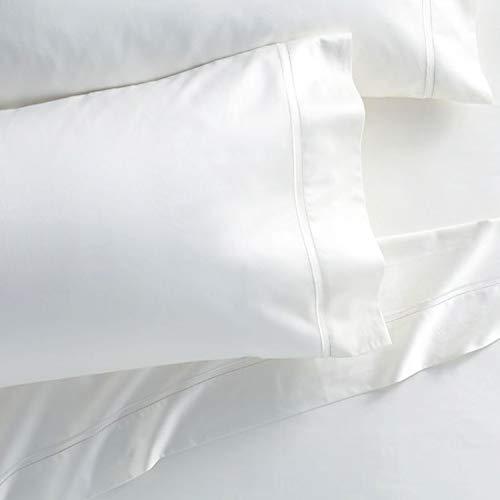 Westbrooke Linens Juego de sábanas y funda de almohada, 100% algodón ultrafino plisado para ropa de cama de lujo, tela de satén sólido, bolsillo profundo elástico, colección...