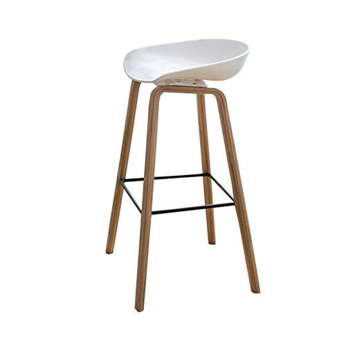 Effen houten barkruk moderne eetstoel met metalen dwarsbalk, versterkte schroef bevestiging, PP gebogen kussen, voor Home Decoration Cafe (zithoogte: 72cm)