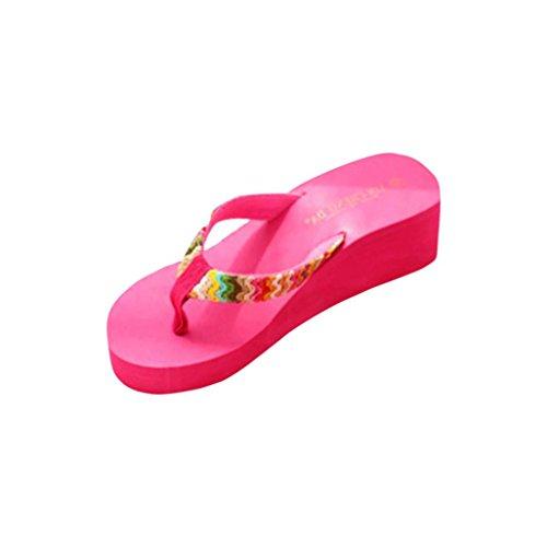 Xinan Damen Sommer Schuhe, Sommer-Plattform-Sandelholz-Strand Flache Keil Patch-Flip-Flops Lady Slippers (39, Hot Pink)