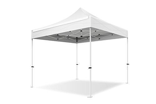 ACTIEXPRESS Tente Pliante 3X3 Structure en Acier 30mm Toit 220g/m² 100% étanche (Blanc)