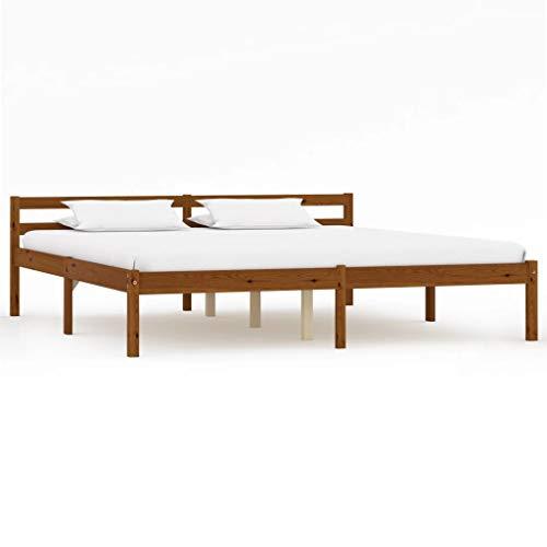 vidaXL Massief Grenenhouten Bedframe Honingbruin 160x200 cm Bed Frame Ledikant