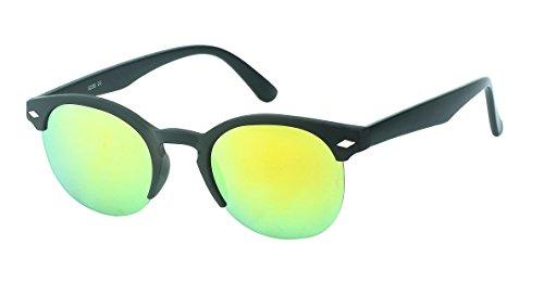 Chic-Net Hochwertige Sonnenbrille rund Vintage John Lennon Raute Nerd Brille 400UV Schlüssellochsteg gelb