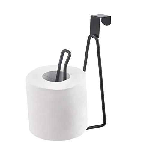 YININE Metal Toilet Paper Holder Stand, Over The Tank Toilet Tissue Roll Paper Holder Stand Dispenser Reserve for Bathroom Storage and Organization- Black