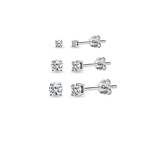 3 Pair Set Sterling Silver Cubic Zirconia Round Stud Earrings, 2mm 3mm 4mm