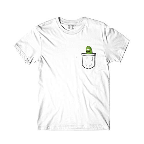 ARTIST T-Shirt Pickle Rick Rick e Morty Unisex Serie TV Taschino Pocket (M)