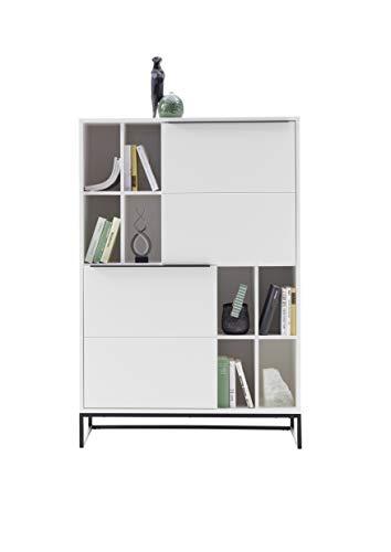 Robas Lund Highboard weiß matt, Wohnzimmerschrank mit Metallkufengestell, BxHxT 100x149x40 cm