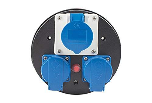 as - Schwabe as 10976 CEE Steckdoseneinsatz 230 V, 3-Fach, IP44, mit blauen Klappdeckeln & Thermoschutzschalter