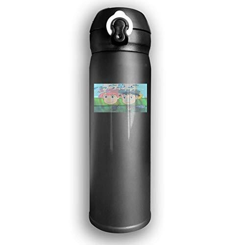 AEMAPE Botella de Agua de Acero Inoxidable con Aislamiento al vacío Ponyo en el acantilado Taza Termo de Moda para Bebida fría Caliente Café o té Negro