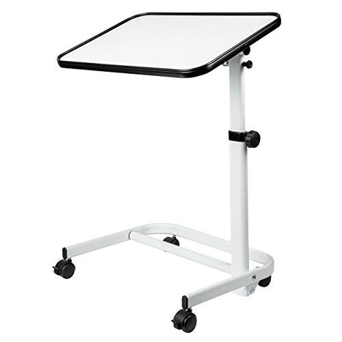 ONVAYA® Beistelltisch Oskar weiß mit Rollen | Pflegetisch höhenverstellbar | Notebooktisch | Laptopständer mit klappbarer Tischplatte | Rollentisch