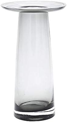花瓶 フラワーベース ガラス 花器 花びん 生け花 一輪挿し 北欧 ドライフラワー ポット フラワー ベース 台 アンティーク調 インテリア雑貨 置物 おしゃれ 高さ20cm (透明・グレー)