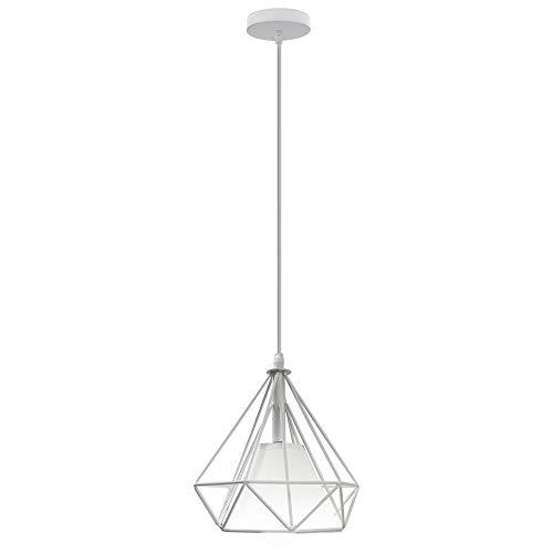 Lámpara Colgante Retro Vintage, Estilo Industrial Φ20cm Lámpara de Techo Colgante Iluminación Forma de Diamante, Blanco