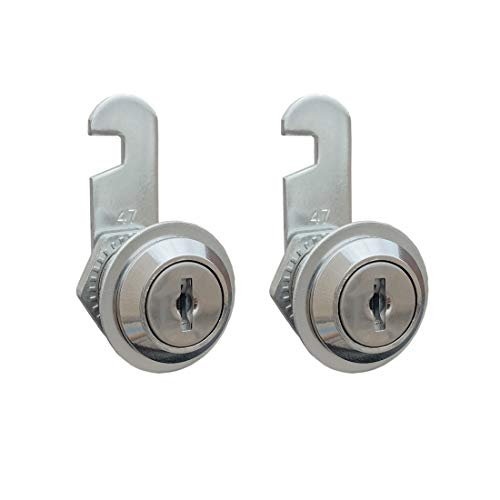 VictorsHome Cam Lock for Cabinet Drawer - 20mm Cylinder Length, Fits for 1/2 Inch Max. Panel Thickness, Chrome Finish, Keyed Alike, 2 Pack