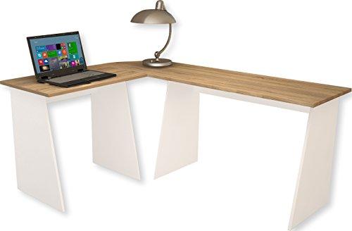 VCM Eckschreibtisch Schreibtisch Büromöbel Computertisch Winkeltisch Tisch Weiß / Sonoma-eiche 74 x 135 x 105