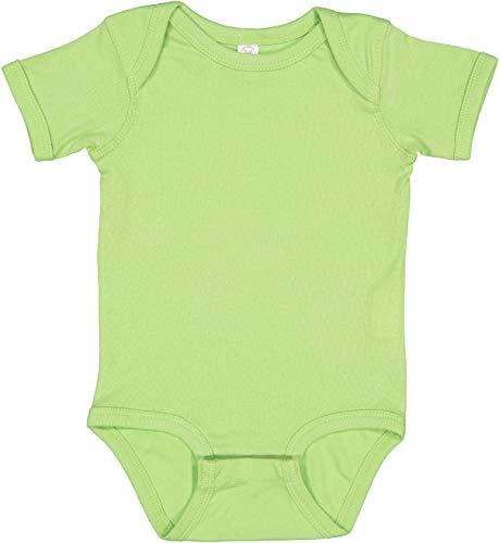 RABBIT SKINS, Baby Soft Short-Sleeve Bodysuit, Key Lime, 6 Months