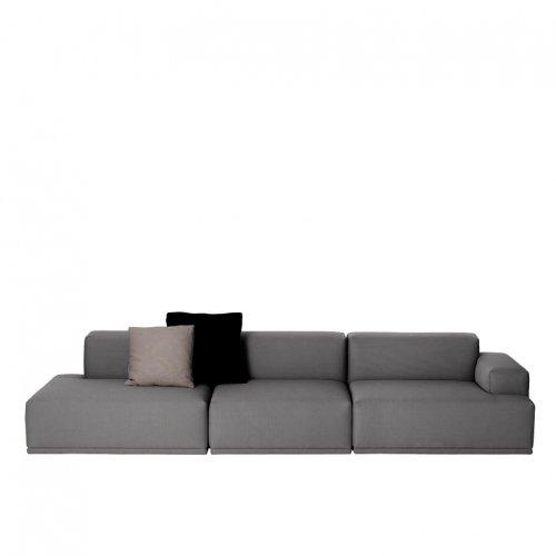 Muuto Connect Lounge 3-Sitzer Sofa, dunkelgrau Steelcut Trio 153 326x92cm ohne Dekokissen